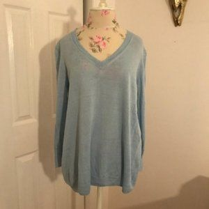 J.Crew Light Blue Linen V-Neck Long Sleeve Sweater